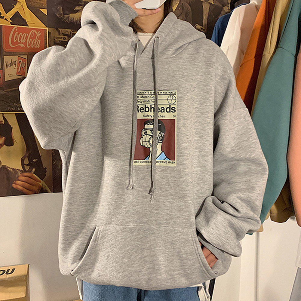 Fleece Hoodies Sweater Thicken Hooded Sweatshirts Casual Loose Pullover for Man gray_M