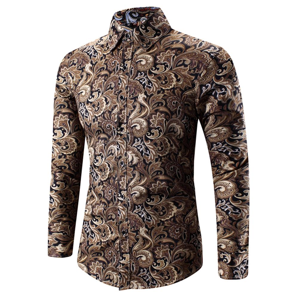 Men Spring And Autumn Simple Fashion Print Long Sleeve Shirt Tops Golden_XXL