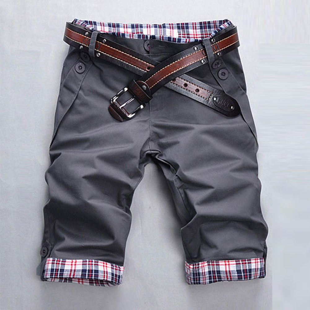 Men Fashion Casual Slim Cropped Trousers with Zipper gray_M