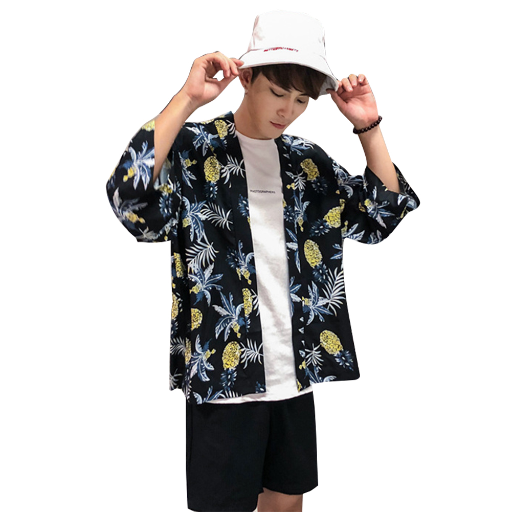 Retro Loose Hawaiian Pineapple Print for Seaside Vacation Dhort Sleeve Shirt Blue_XXL