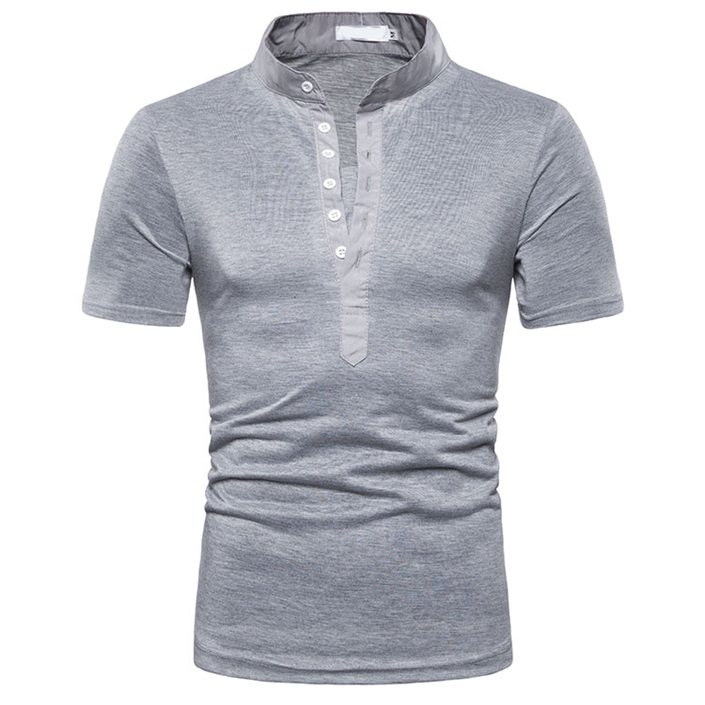 Fashion Men Slim Fit V Neck Short Sleeve Muscle Tee T-shirt  light grey_M