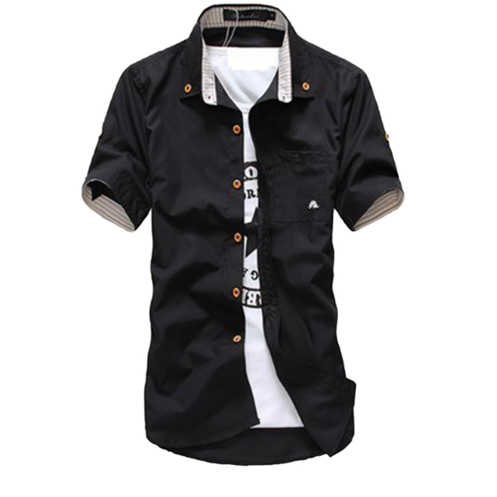 Short Sleeves Shirt Single-breasted Top with Pocket Leisure Cardigan for Man black_L