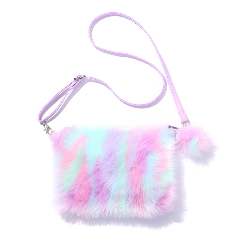 Women Girls Kids Fluffy Fuzzy rainbow Bag Plush Tie Dye Rainbow Crossbody Purse  Violet
