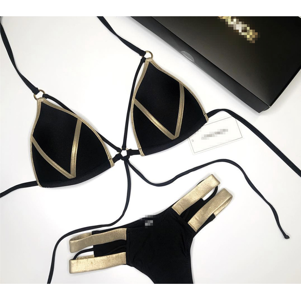 Women Sexy Gilding Joint Pattern Swimwear Bikini Suit