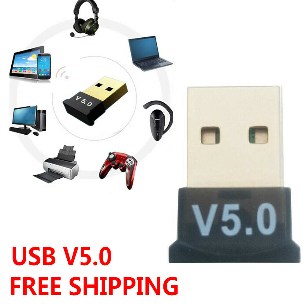 USB Bluetooth 5.0 Wireless Audio Music Stereo Adapter Dongle Receiver For TV PC black