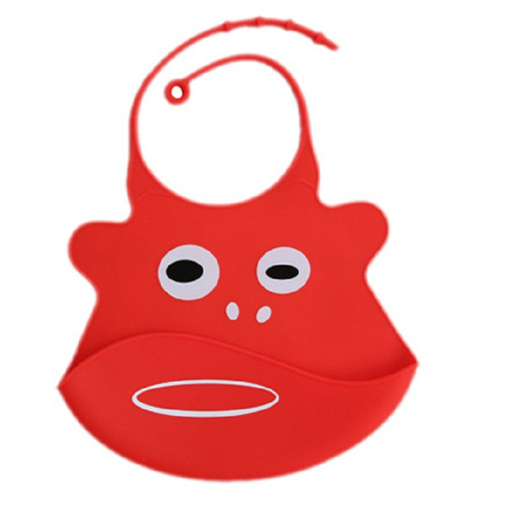 Kid Infant Baby Bibs Soft Silicone Waterproof Large Size Dripping Bibs Red monkey