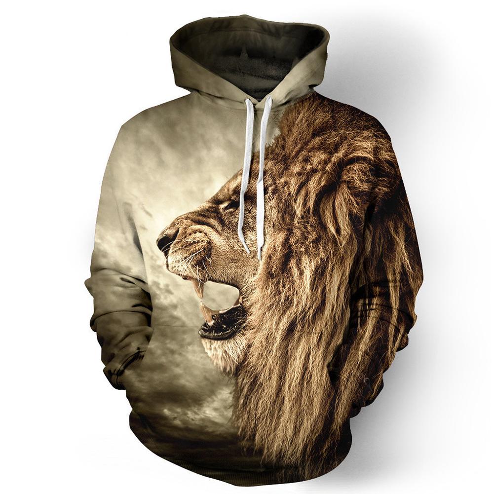 Halloween 3D Lion Printed Hoodie