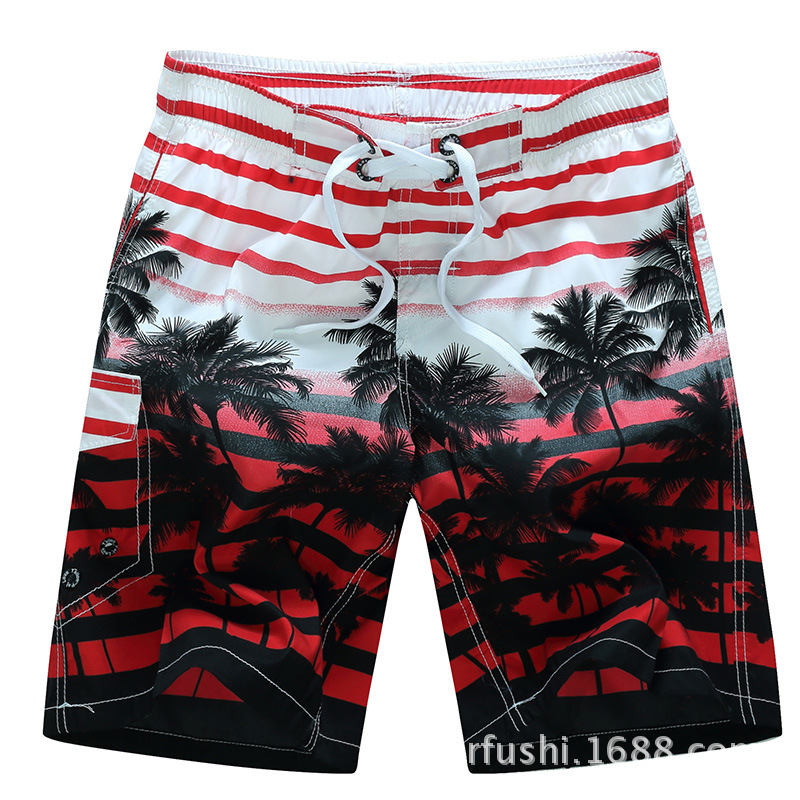 Male Beach Shorts Quick Dry Pants with Strips and Coconut Tree Printed Vacation Wear red_M