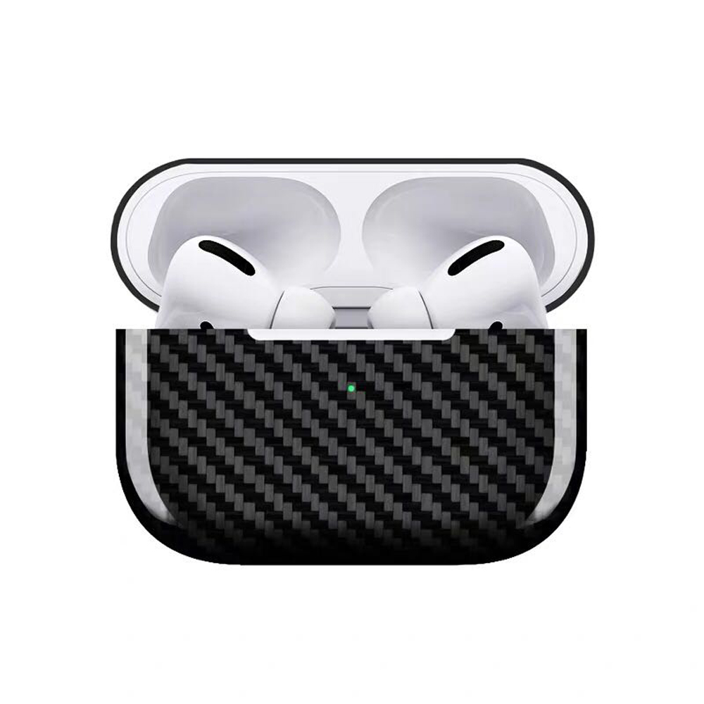 Earphone Protective Case For AirPods Pro Carbon Fiber Shell Shockproof Protective Cover Portable for Outdoor Travel black