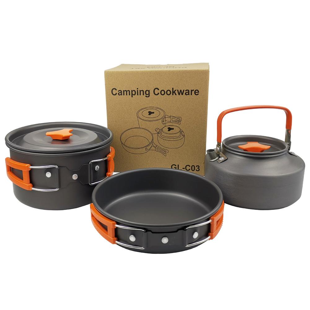 3pcs/set  2-3 Person   Cookware  Set Teapot Frying Pan Boiling Pot For Outdoor Camping Picnic Orange