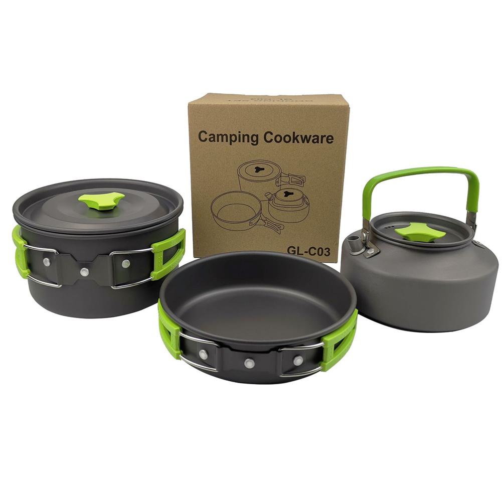 3pcs/set  2-3 Person   Cookware  Set Teapot Frying Pan Boiling Pot For Outdoor Camping Picnic green