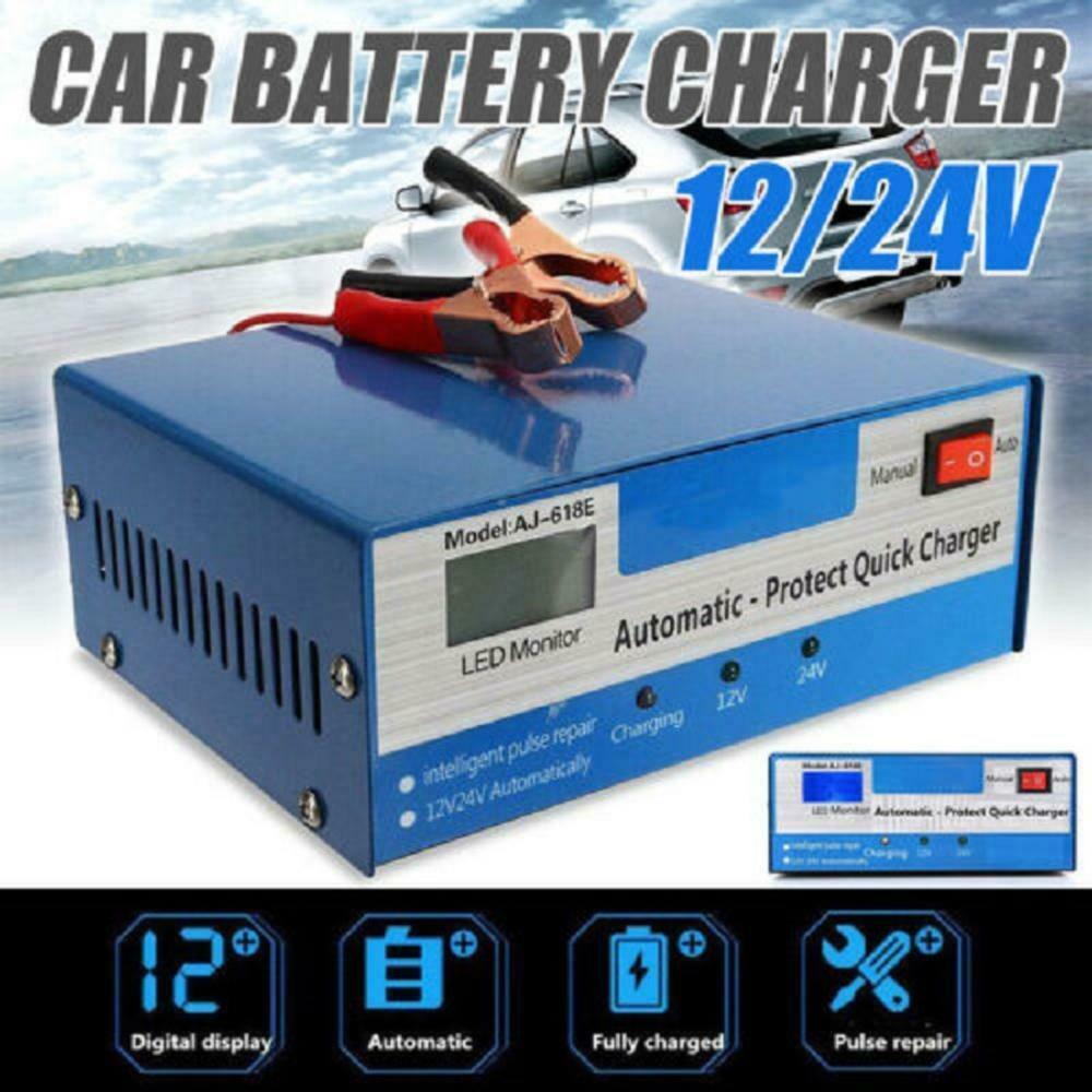 12/24v Automatic Quick Battery  Charger Intelligent Pulse Repair Truck Storage Eu Plug