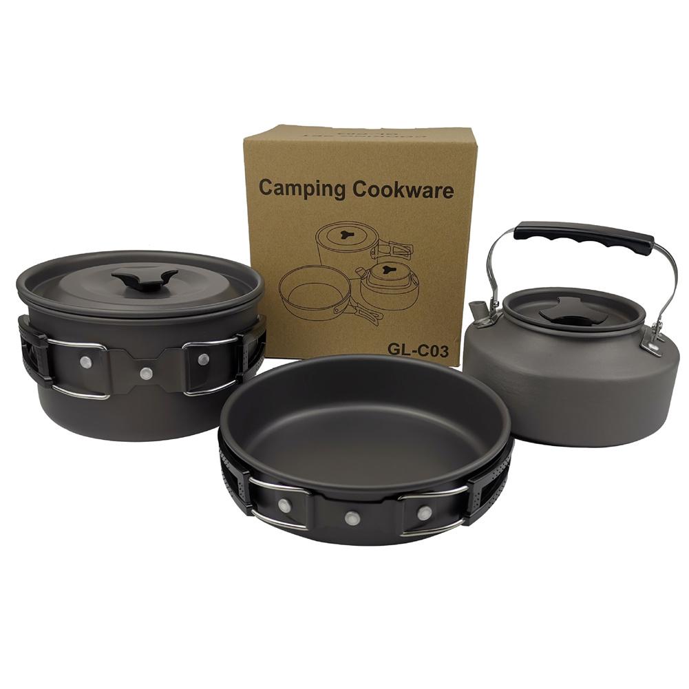 3pcs/set  2-3 Person   Cookware  Set Teapot Frying Pan Boiling Pot For Outdoor Camping Picnic black