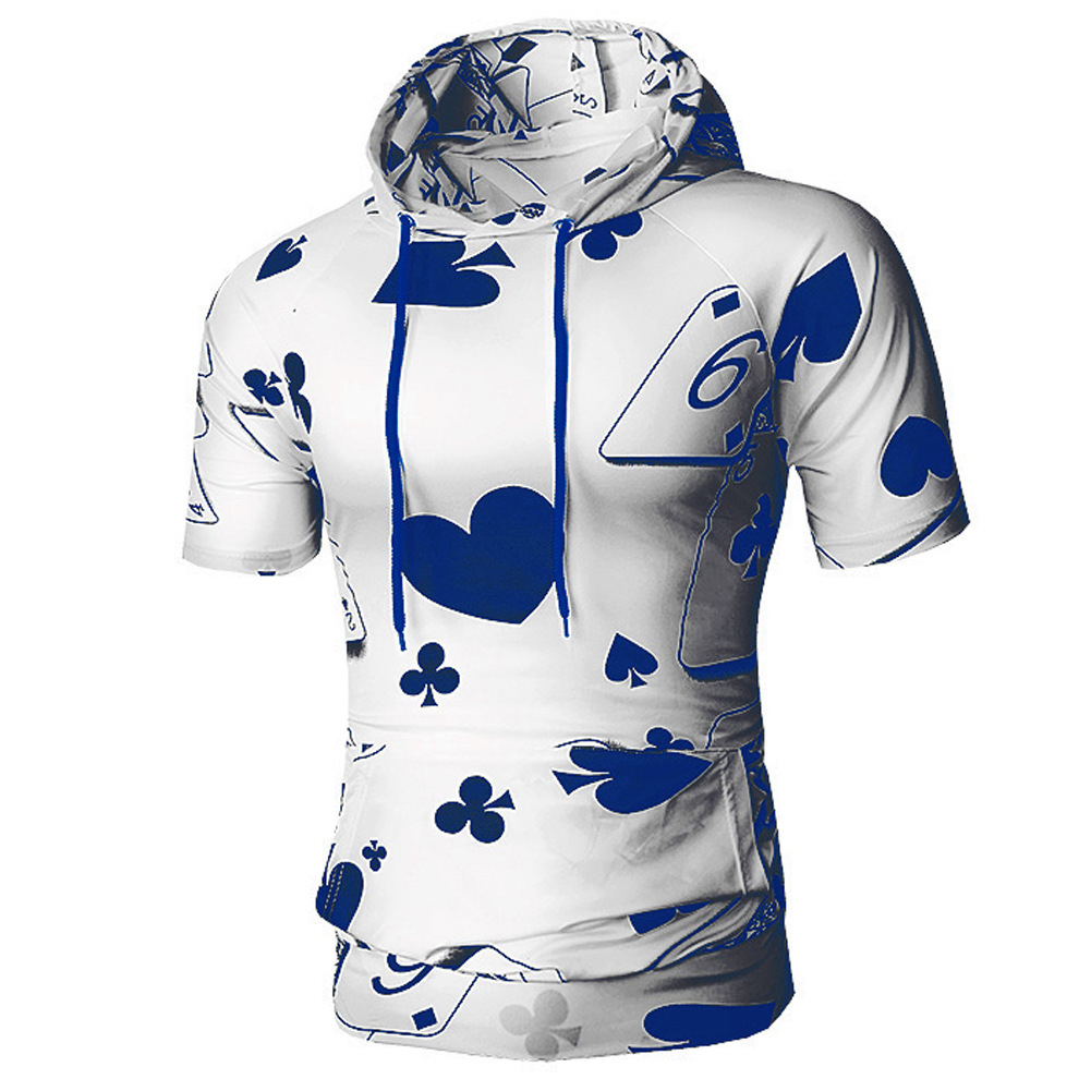 Men Spring And Autumn Playing Card Printing Simple Fashion Short Sleeve Hooded Shirt T-shirt blue_3XL