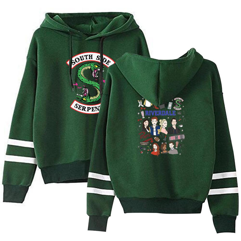 Men Women American Drama Riverdale Fleece Lined Thickening Hooded Sweater Green E_L