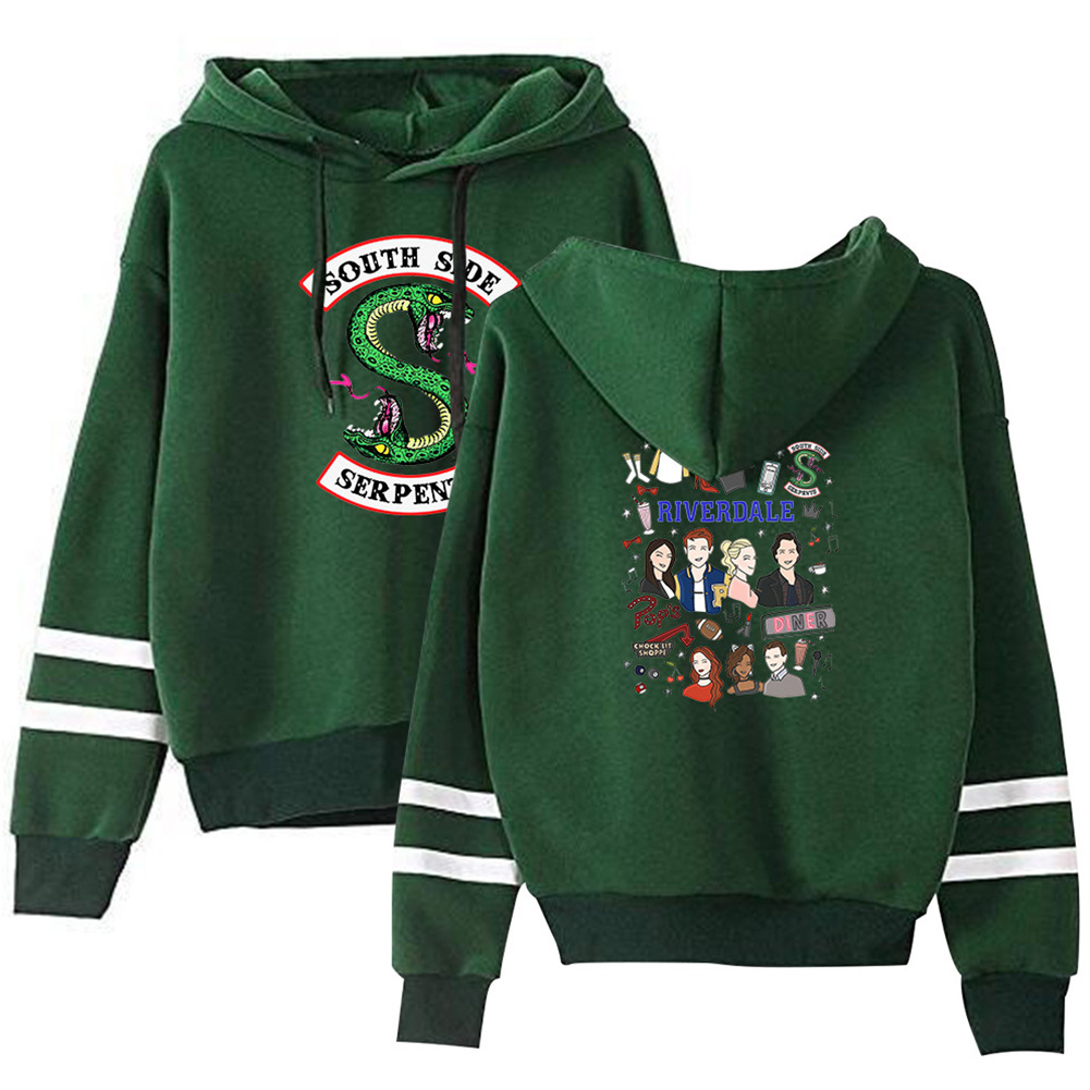 Men Women American Drama Riverdale Fleece Lined Thickening Hooded Sweater Green E_M