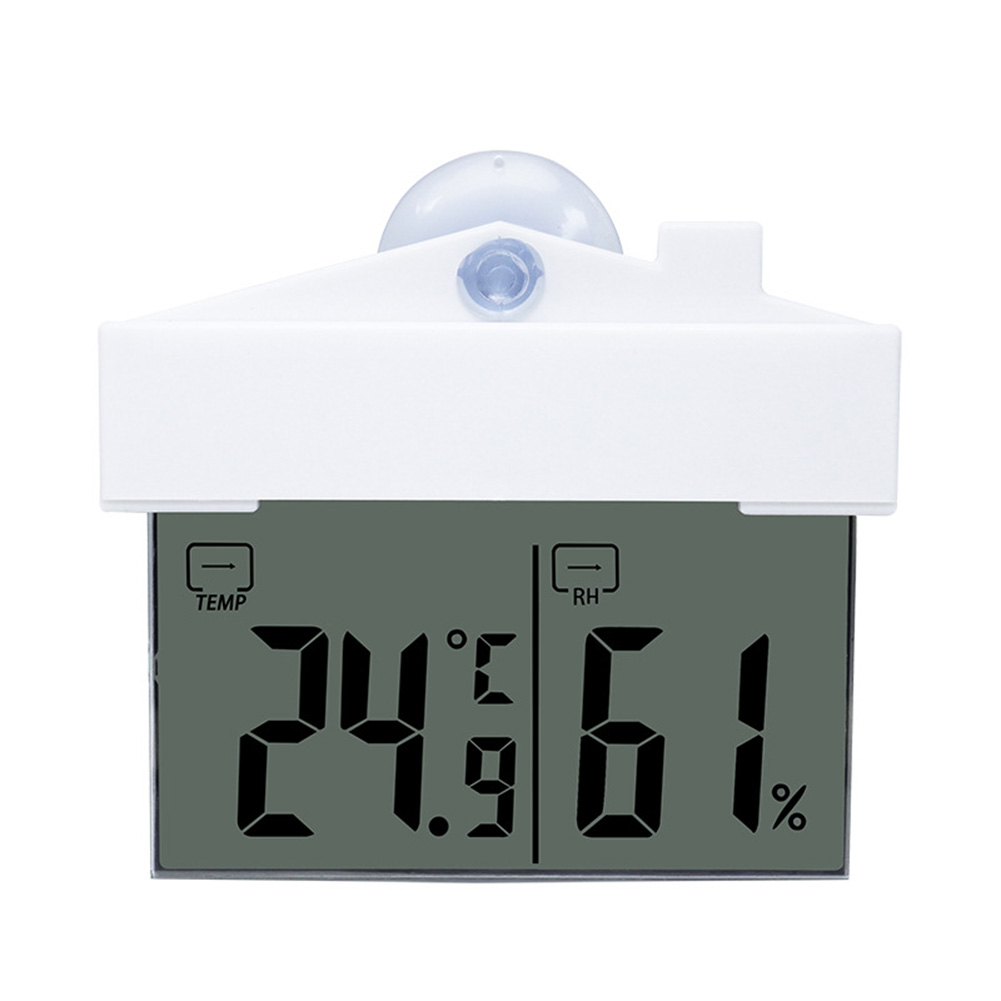 Digital Lcd Window Thermometer Hygrometer Indoor Outdoor Weather Humidity Meter With Suction Cup as picture show