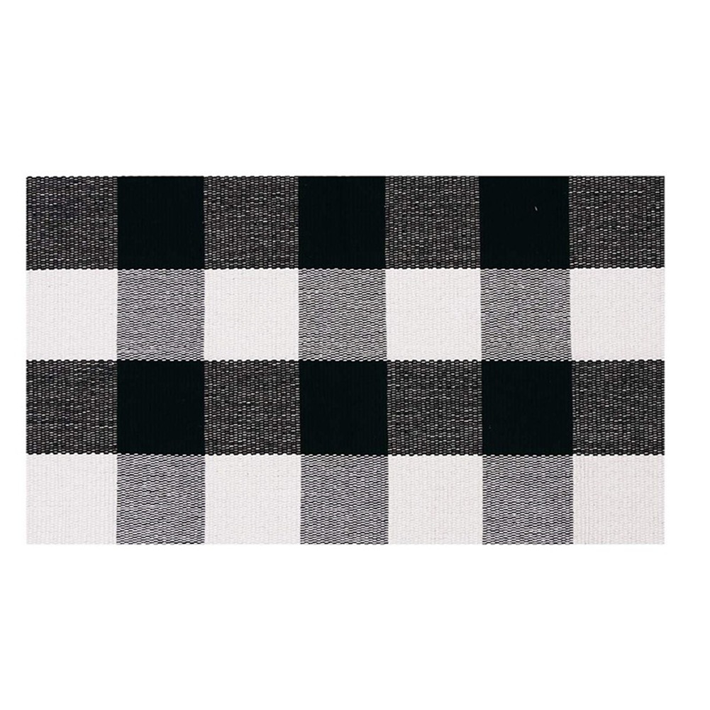 Carpet Doormat Cotton Plaid Floor Door Kitchen Bathroom Outdoor Porch Laundry Woven Carpet Black and white grid_60*130cm