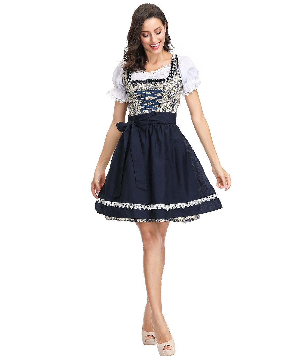 3pcs/set Women Oktoberfest Dirndl Lace Edge Maid Cosplay Dress Beer Festival Dress black_XL