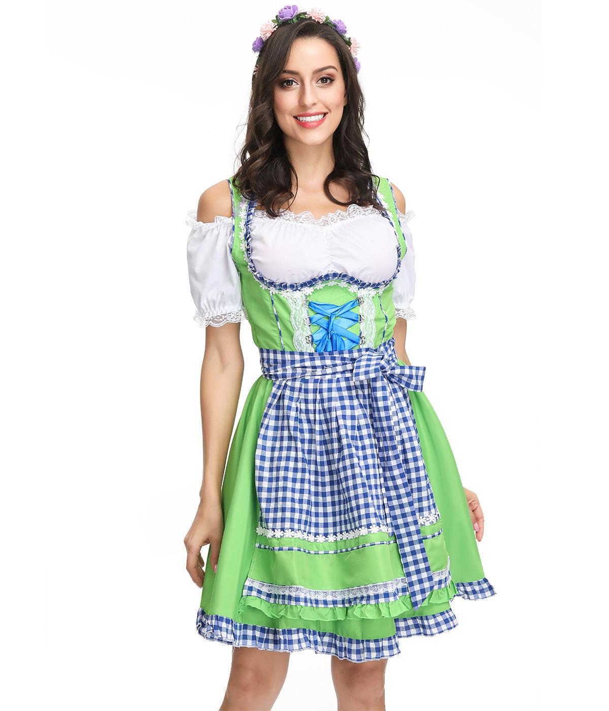 Women Oktoberfest Dirndl Off-shoulder Maid Cosplay Dress Costume Beer Festival Dress green_XL