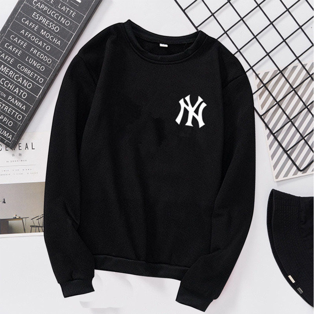Men Women Lovers Fashion Round Collar Fleece Loose Hooded Sweatshirts Coat black_L