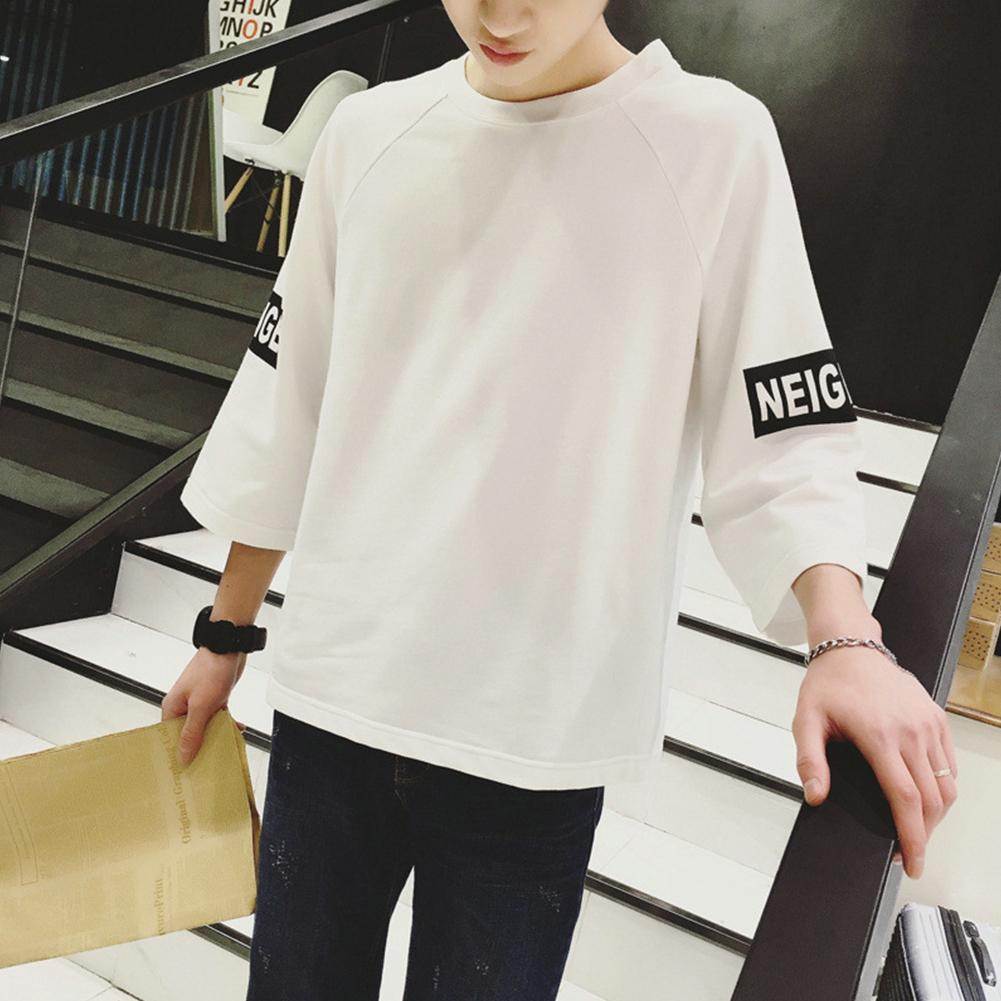 Men Fashion Casual Spring / Summer Loose Three Quarter Sleeve T-Shirt Tops Three Quarter Sleeve White_XL