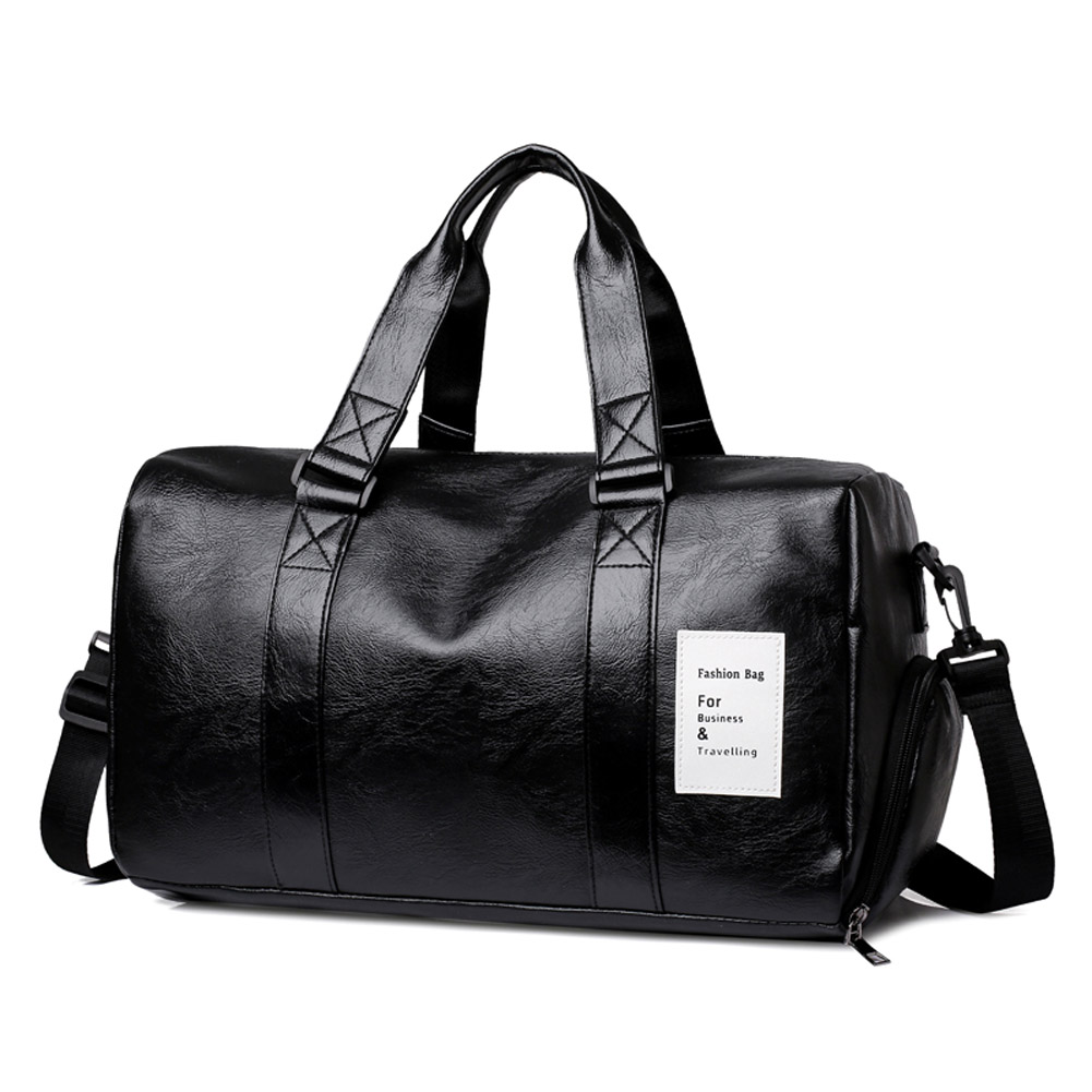 Men's Travelling Bag PU Waterproof Gym Yoga Sports Portable Travel Bag black#_24 inches
