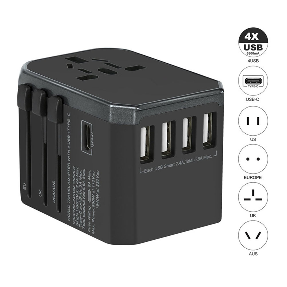 Type-C Universal World Travel Power Adapter Wall Charger Conversion Socket with US UK EU AU Plugs black_White box