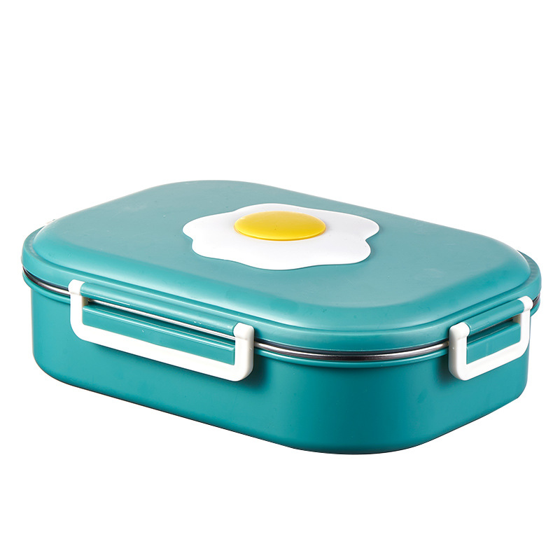 Lunch Box Stainles Steel Partitioned Isolated Portable Food  Storage  Container Blue