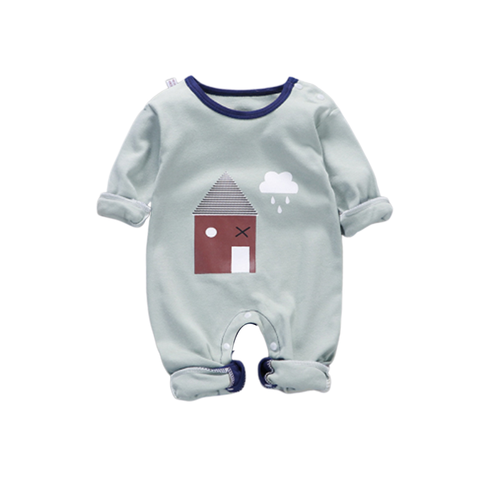 Baby Piece Jumpsuits Cotton Long Sleeve Tops for Daily Out Wearing Green House (Brussels Green House)_59