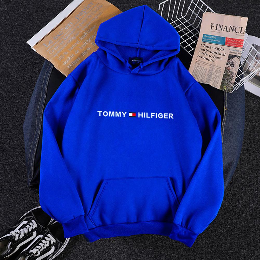 Men Women Hoodie Sweatshirt Printing Letters Thicken Velvet Loose Fashion Pullover Blue_M