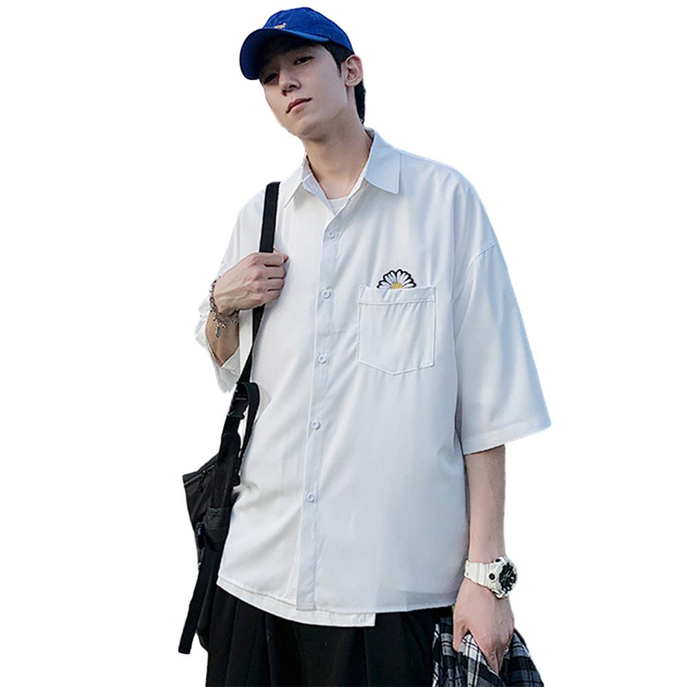Men Short Sleeve Shirt Summer Thin Fashion Loose Daisy Pattern Tops White_XXL