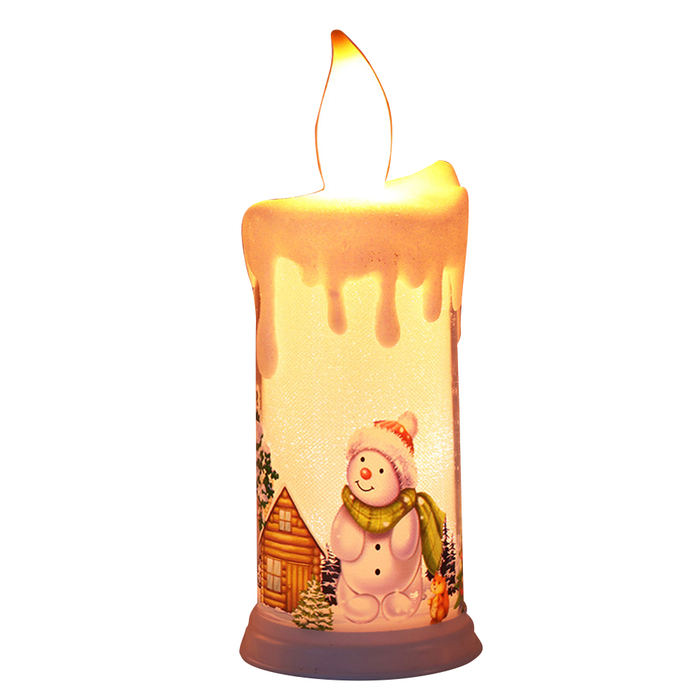 Electronic Simulation Candle  Light Led Candle Santa Claus Snowman Decoration Night Light Type A snowman