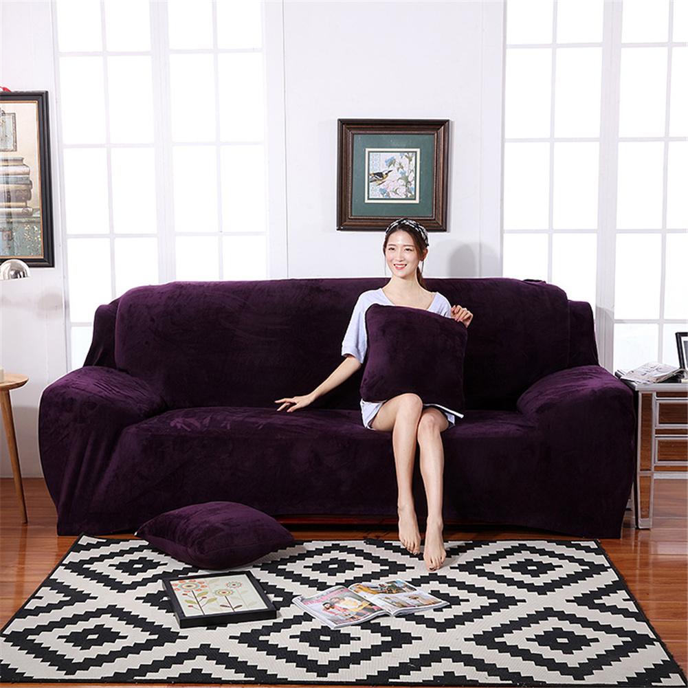 Plush Stretch Sofa Covers Stylish Furniture Cushions Sofa Slipcovers Winter Cover Protector  Deep purple_Double 145-185cm