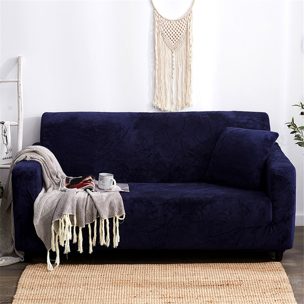 Plush Stretch Sofa Covers Stylish Furniture Cushions Sofa Slipcovers Winter Cover Protector  Dark blue_Double 145-185cm