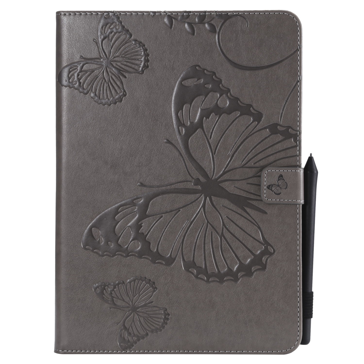 For iPad 5/6/air1/air2 9.7 Fashion Butterfly Embossed PU Leather Magnetic Closure Stand Case Auto Wake/Sleep Cover with Pen Slot gray