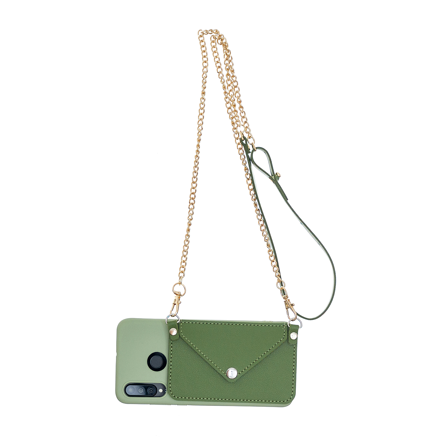 For HUAWEI P30/P30 Lite/P30 Pro Mobile Phone Cover with Pu Leather Card Holder + Hand Rope + Straddle Rope green