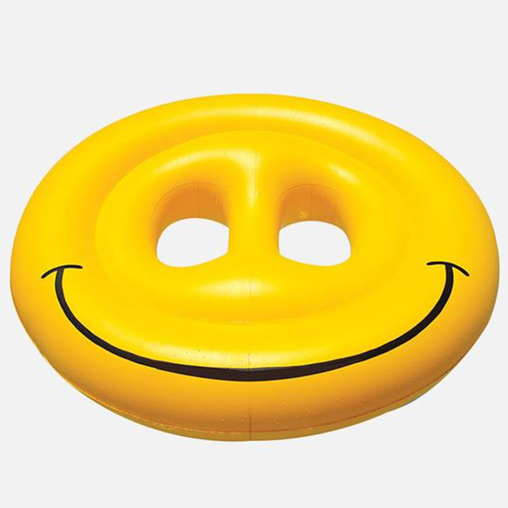 PVC Inflatable Smiling Face Expression Swimming Pool Water Sports Float Toy Yellow