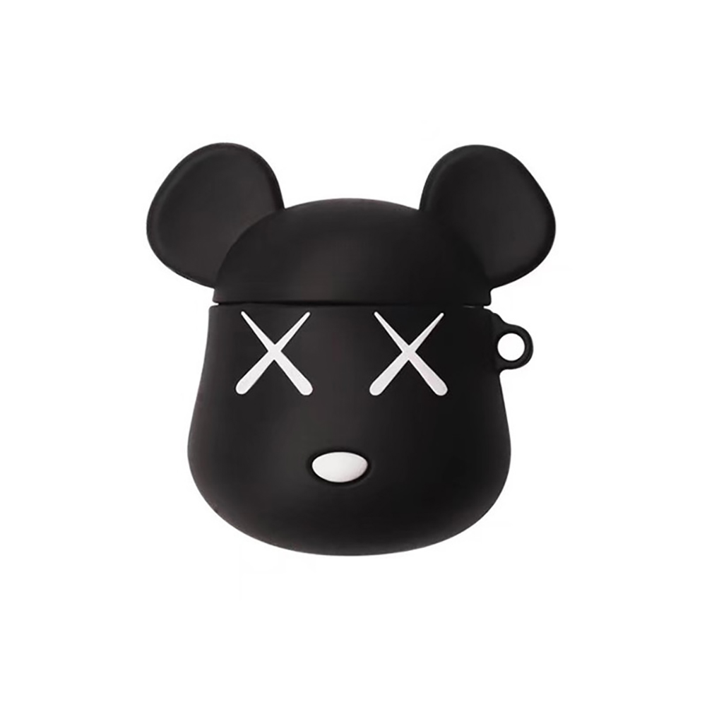 Earphone Silicone Case Applicable to Apple AirPods Cartoon Bear Style Protective Cover Black