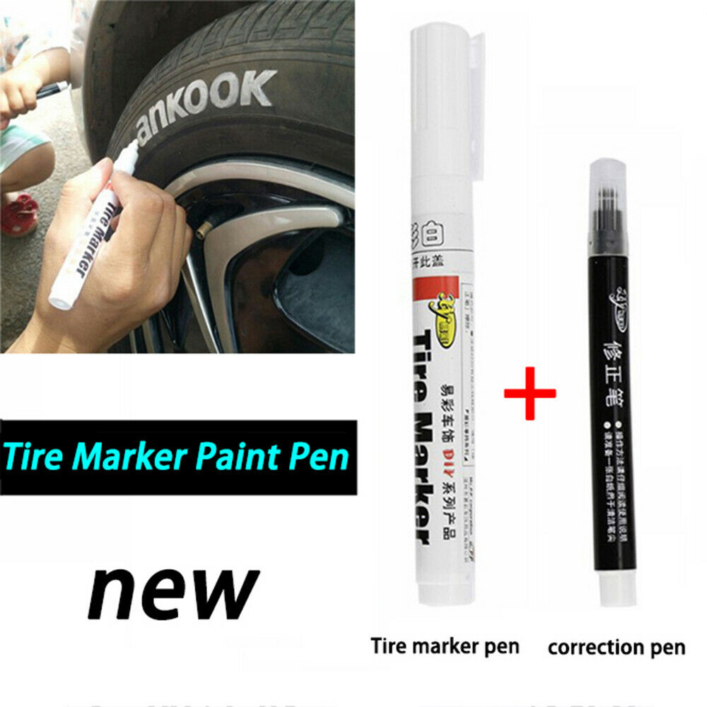1 Set of White-Color Permanent Tire Marker Pen for Car Tire and Moto Tire