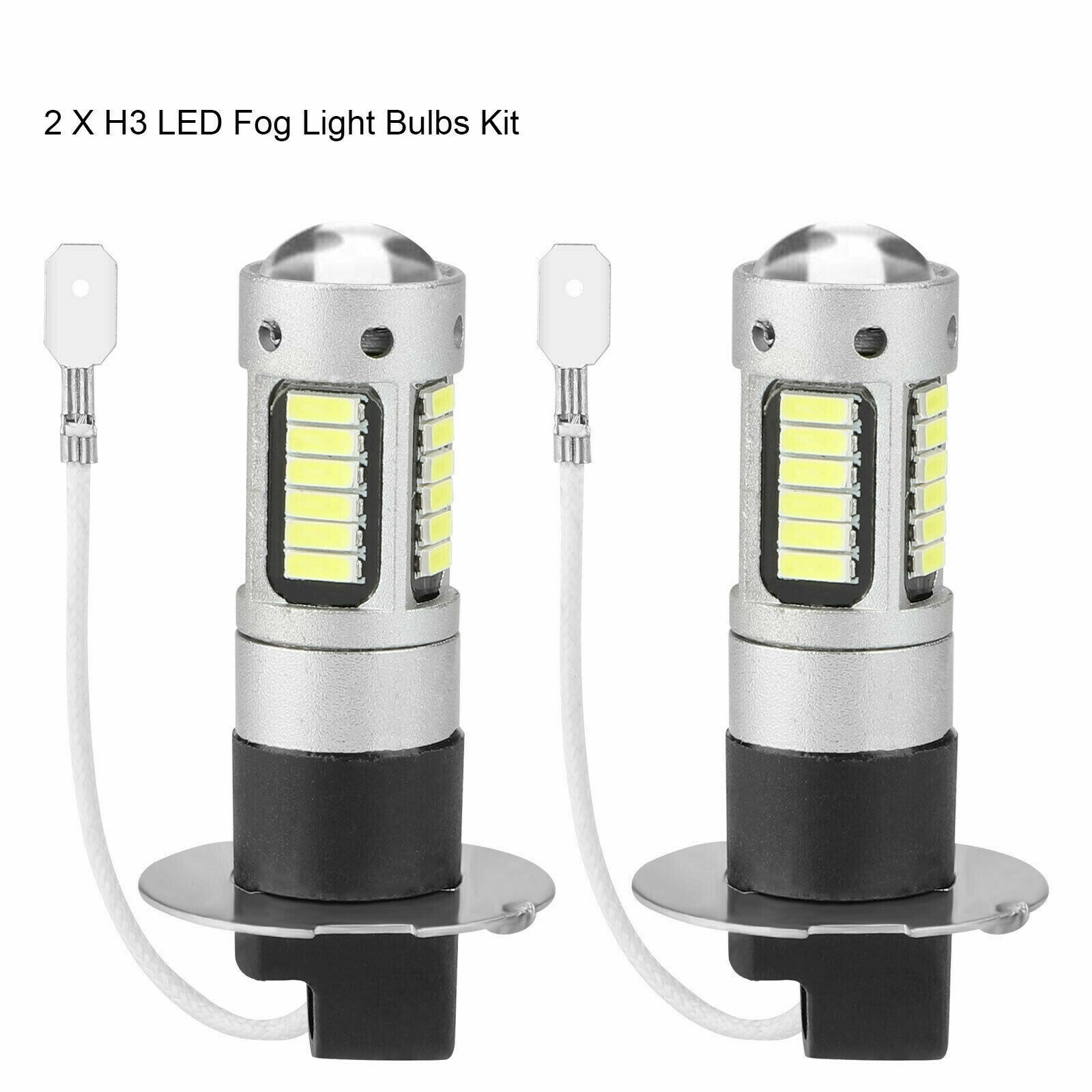 H3 6000K White Led Fog Driving Light Bulbs Conversion Kit Super Bright Drl Bagged