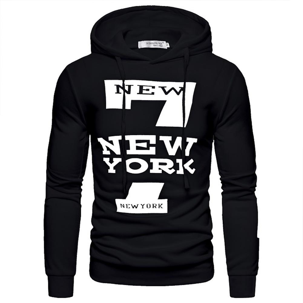 Men Hoodie Sweatshirt New York 7 Printing Drawstring Loose Male Casual Pullover Tops Black_M