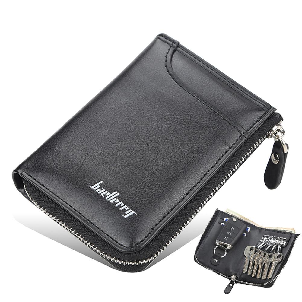 Men Short Zipper Wallet Portable Leather Key Case with Cards Slot black