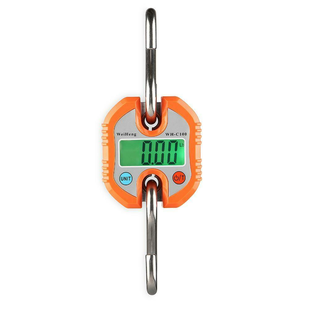 150kg x 50g Mini Heavy Duty Electronic Digital Hook Scale Hanging Crane Scale LCD Balance Weight Orange