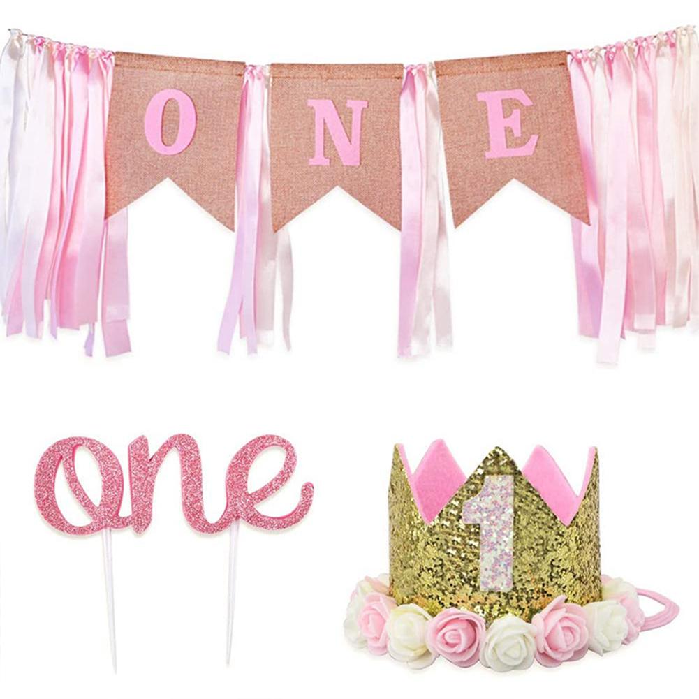 Birthday  Decoration Cloth Art Pull Flag Crown Theme Birthday Party Decoration Props 3-piece set