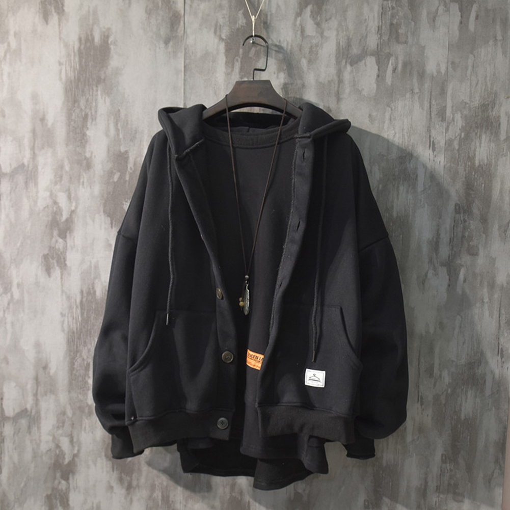Man Fashion Autumn And Winter Warm Loose Hooded Sweater Coat Tops 563 black (winter plus velvet)_XL