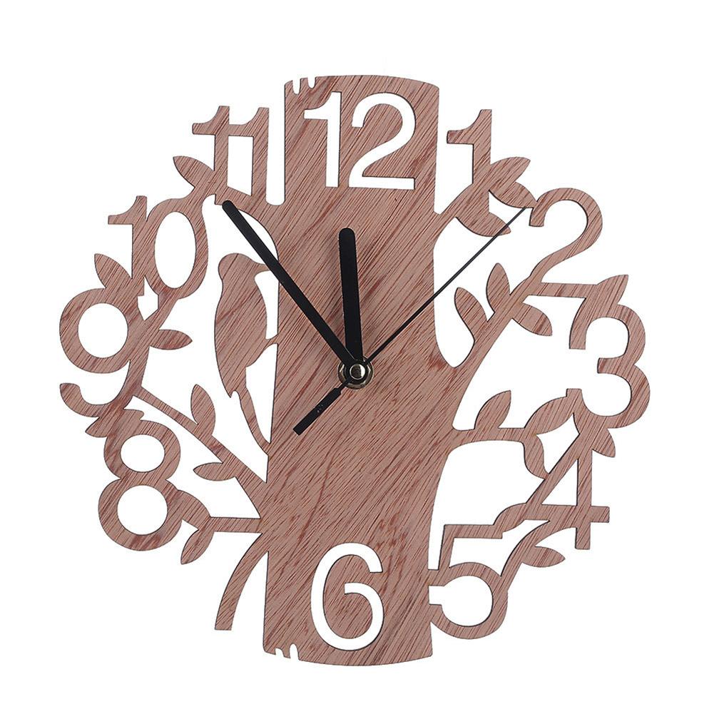 22CM Stylish Wooden Tree-Shape Wall Clock Home Decoration Gift