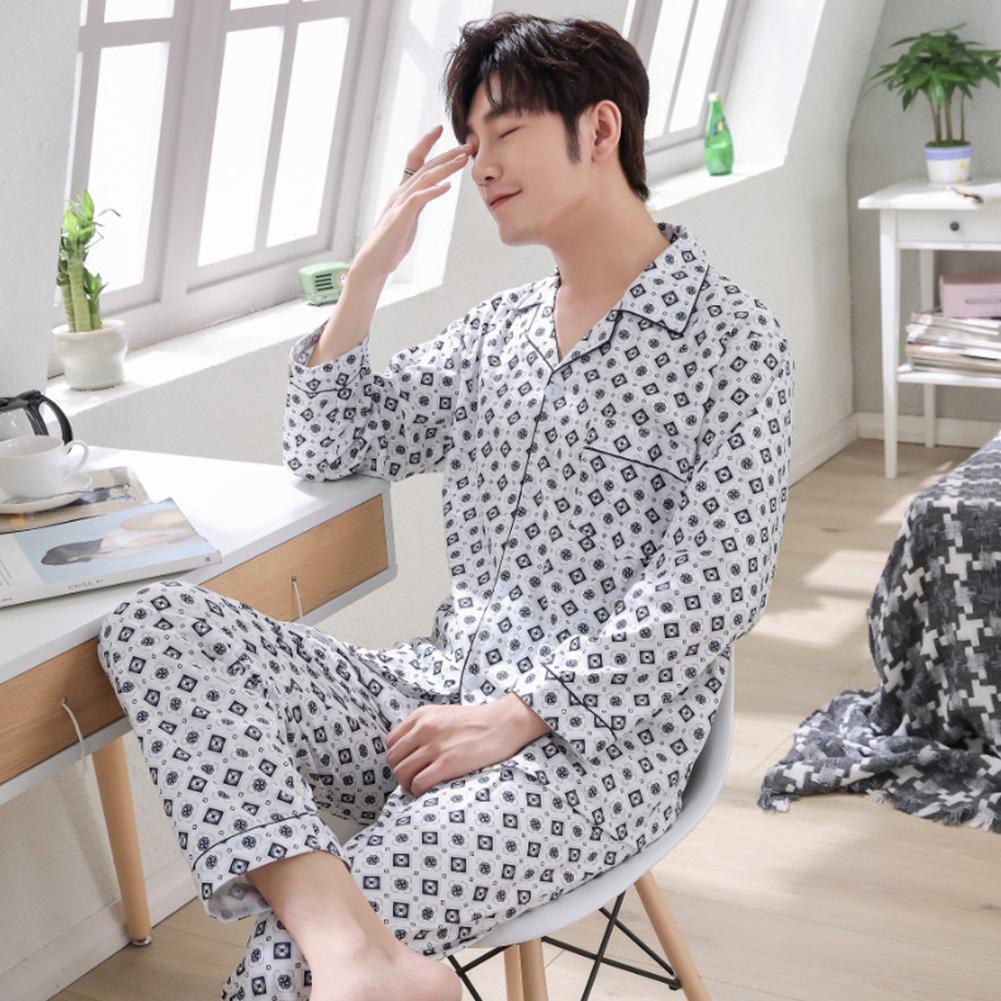 Men Winter Spring and Autumn Cotton Long Sleeve Casual Home Wear Pajamas Homewear 8824 blue_XXL
