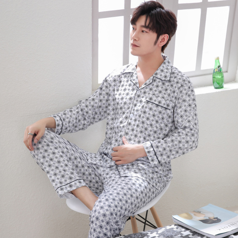 Men Spring and Autumn Cotton Long Sleeve Casual Breathable Home Wear Set Pajamas 8851 blue_XXL