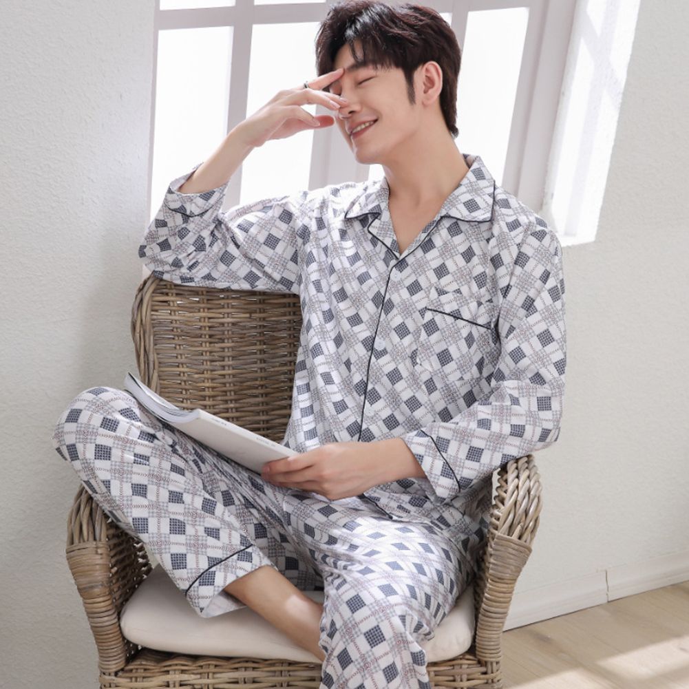 Men Winter Spring and Autumn Cotton Long Sleeve Casual Home Wear Pajamas Homewear 8819 blue_XL